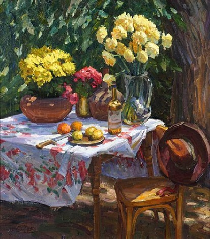 still life with vases of flowers and fruit by tim solliday