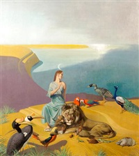 woman with animals along coast by julius moessel