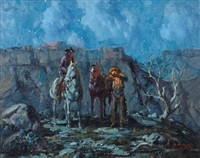 respite, two cowboys in a nocturnal landscape by marco antonio gomez