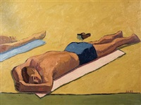 sunbather (+ still life with liquor bottles, verso) by alfredo antognini