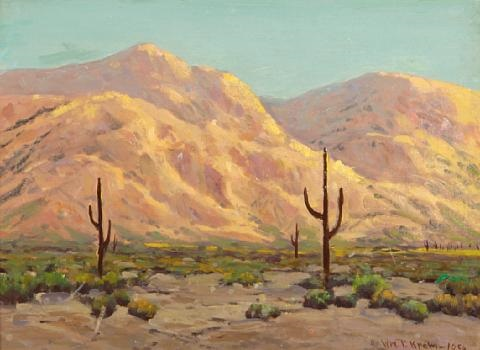 cactus in a desert landscape by william p krehm