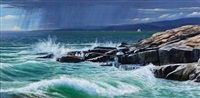 squall approaching schoodie point (+ departing storm; 2 works) by rob st. clair-mullen