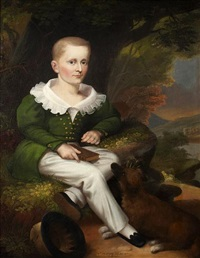 a portrait of a boy with a dog seated at his feet by robert street