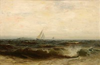 sailboats on choppy seas by frank knox morton rehn