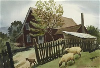 sheep by a red farmhouse, fort bragg by nat levy