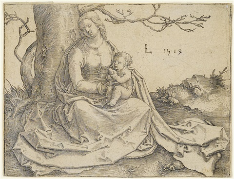 virgin and child seated under a tree by lucas van leyden