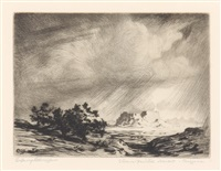 arizona storm; storm in the painted desert, arizona (2 works) by george elbert burr