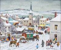 untitled (street scene in winter) by paul lemasson