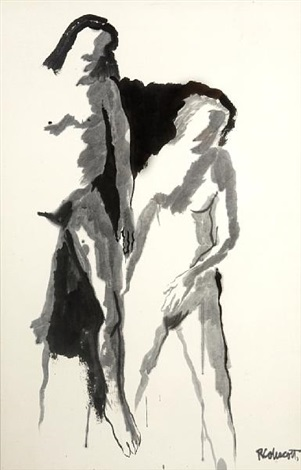 untitled two figures study by robert h colescott