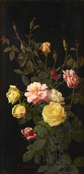 cuttings of pink and yellow roses by george cochran lambdin