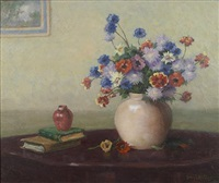 a still life of a vase of flowers by henry leopold richter