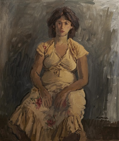 a seated woman by raphael soyer