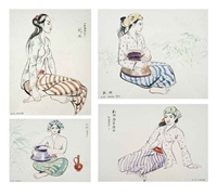 four female studies (4 works) by liu kang