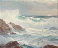 breaking waves along the coast by howard everett smith