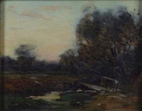 meandering stream (+ nocturnal farmhouse; 2 works) by bertha menzler peyton