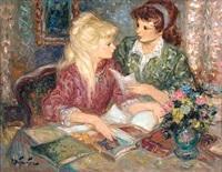 two girls reading by pierre eugène duteurtre