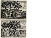 sunshine lake; a kansas landscape (set of 2) by birger sandzen