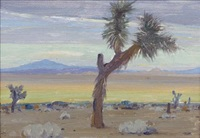 desert scene with yucca trees by clyde forsythe