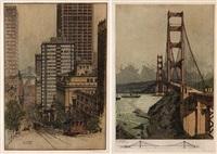 california street (+ golden gate bridge; from san francisco series; 2 works) by josef eidenberger