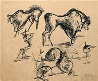 konvolut von sechs zeichnungen (8 works) by joachim dunkel