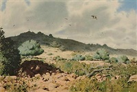 hunting scene (+ another and 1 print; 3 works) by rodger mcphail