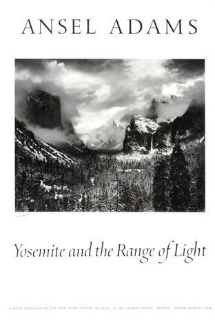 yosemite and the range of light poster by ansel adams