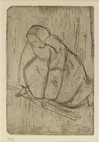 jeune femme coucheé; nue avec chignon; femme en coiffe, de dos; femme assise; la glaneuse (5 works) by armand seguin