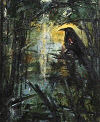 blackbird looking at the light by john alexander