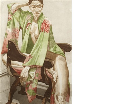 the model in green kimono by philip pearlstein