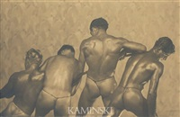 nude physique portrait of four men playing tug-of-war with their backs to the camera by edwin f. townsend