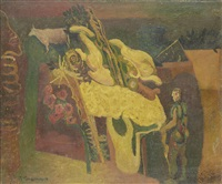 composition with man and cow by robert colquhoun