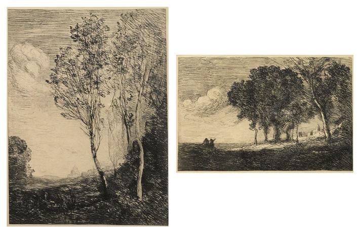 souvenir ditalie environs de rome paysage ditalie bucheron de rembrandt rives du po 5 works by jean baptiste camille corot