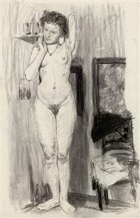 stehender weiblicher akt mit erhobenen armen by otto eckmann