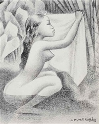 bather holding up her yellow kemban by miguel covarrubias