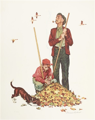 grandpa and me raking leaves by norman rockwell