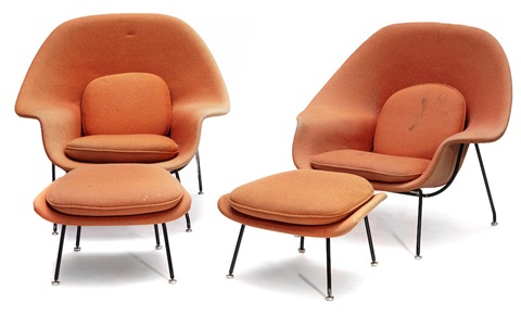 Two Womb Chairs And Two Ottomans By Eero Saarinen