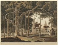 hindoo temples at agouree, on the river soane, bahar, pl. xix (from oriental scenery) by thomas daniell