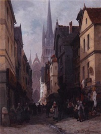 a view of the rue de l'épicier, rouen by jules bathieu