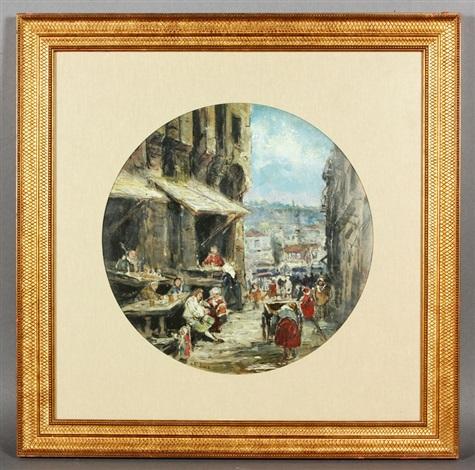 market street scene by louis gabriel eugène isabey