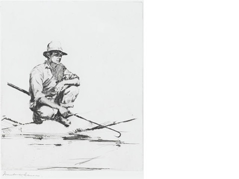 man with gaff by frank weston benson