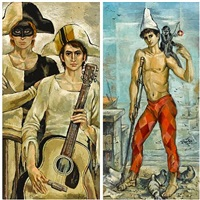 musicians (+ a beggar boy with monkey; 2 works) by walter angelo