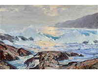 a coastal scene with crashing waves by paul lauritz