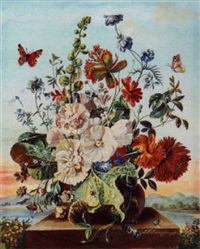 a still life with flowers and butterflies by friedrich (frederick) jüngling