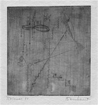 abstrakte komposition mit fisch und moschee by rudolf baschant