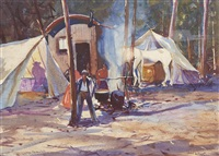 figures in a camp by john whorf