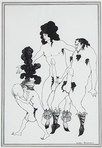 cinesias soliciting myrrhina (+ 5 others; 6 works from aristophanes, lysistrata) by aubrey vincent beardsley