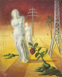 phantastische landschaft mit venus von milo, roter rose und hochspannungsmasten (+ 2 others; 3 works) by karl godeg