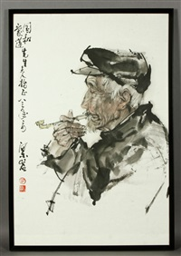 portrait of a man smoking a pipe by liang yan