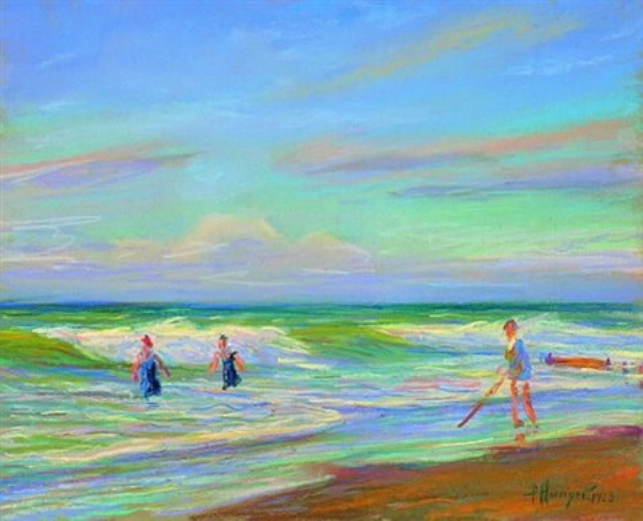 strandszene mit badenden by paul hoeniger