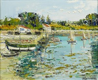 boats in a harbor by yolande ardissone